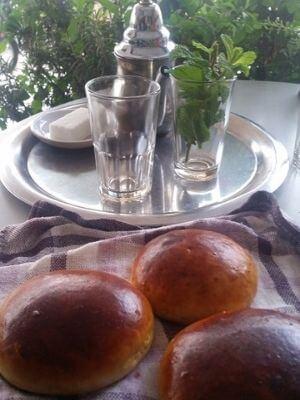 Brioches beside Moroccan Mint Tea Tray